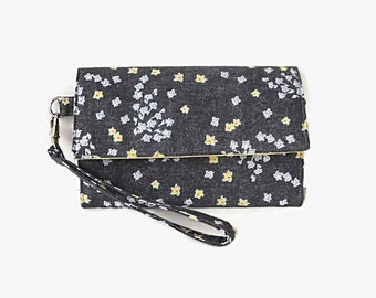 Gray Cushioned Cell Phone Wristlet Wallet - Women's Cell Phone Trifold Wallet - Gray and Yellow Wristlet - Padded Clutch - Detachable Strap