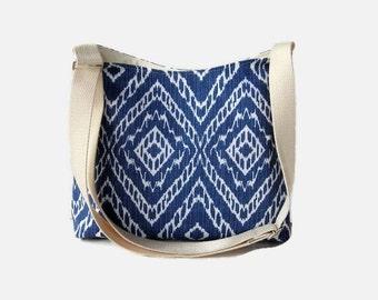 Blue and Cream Hobo Crossbody Bag - Blue Messenger Purse - Adjustable Strap - Medium Shoulder Bag - Handbag