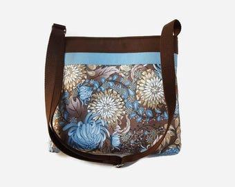 Brown and Blue Fabric Crossbody Handbag - Blue Floral Messenger Purse - Medium Crossbody - Adjustable Strap - Floral Hobo Bag - Shoulder Bag