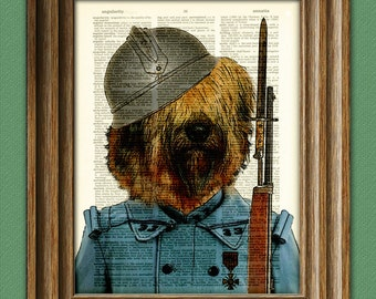 Enzo the Briard French WWI Soldier dog original art dictionary page book art print