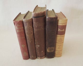 Vintage Antique Books For Decor - Old Book Stack - Decorative Rustic Books