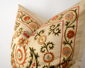 20 x 20 Magnificent silk embroidery suzani pillow cover embroidered in Uzbekistan, bohemian, ethnic pillow cover cushion fully handmade work
