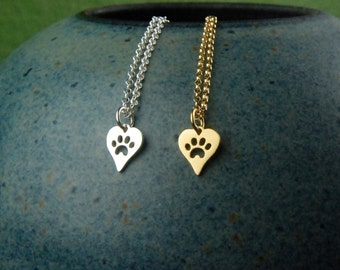 Heart shaped paw print charm necklace in sterling silver or gold, heart charm, cat paw, dog paw, heart charm, cat jewelry, dog jewelry, pets