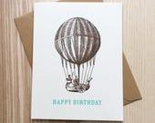 Happy Birthday Card / Vintage Balloon Card / Vintage Birthday Card / Hot Air Balloon Card / Screen Printed Card