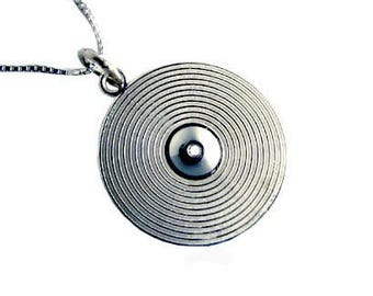 Drum Cymbal Pendant with Chain Sterling Silverf