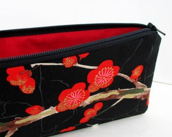 Pencil Pouch Zippered, Asian Cherry Blossoms, Black Money Purse