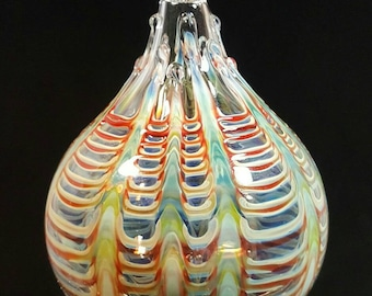 Blown glass ornament...multi colored lace by Erin Cartee