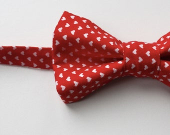 Little Guy BOW TIE - Valentine's Day- Red Heart (3T- 6 years) - Baby Boy Toddler - (Ready to Ship)