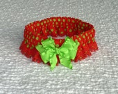 """Dog Collar, Pet Bandana, Green Dots on Red with crocheted mini pom pom trim and satin bow - Size XL: 18"""" to 20"""" neck"""