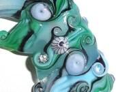 Droplets....Handmade Lampwork Glass Sea Bead..Water summer sea beach silver blue teal black wave ocean Beatlebaby
