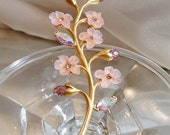 FALL SALE Vintage Branch of Flowers Brooch. Pink Lucite Blossoms.  Purple Crystals, Champagne Rhinestone Pin.  Avon.