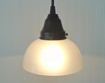 Vintage Frosted Shade PENDANT Created NEW - Chandelier Lighting Fixture Pendant Globe Farmhouse Kitchen Hallway Bathroom by Lamp Goods