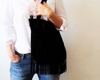 Black suede Fringes  Leather tote bag - Shoulder Bag -Every day leather bag - Women bag