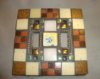 Bee MOSAIC LIGHT SWITCH Plate, Double, Wall Art, Wall Plate, Beige, Tan, Brown, Rust, Gold, Green