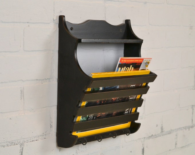 Wall Mounted Mail and Key Holder with Vintage Black Finish - Wooden Wall Unit - Mail Storage - Organizer - IN STOCK - Same Day Shipping