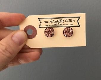 Small Vermeil Gold Faux Druzy Earrings