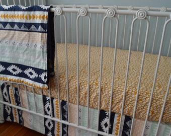 Gold Aztec Crib Bedding- Arizona Arid Horizon Crib Skirt, Sheet, and Blanket