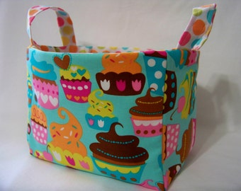 PK Fabric Basket in Sweet Treats in Turquoise - Ready To Ship - Washable - Reversible