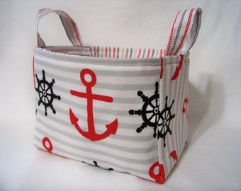 PK Fabric Basket in Nautical - Ready To Ship - Washable - Reversible