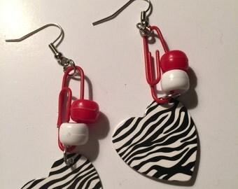 Valentine Paperclip Zebra Earrings, Valentine Paperclip Zebra Dangles, Paperclip Zebra Earrings, Paperclip Zebra Dangles, Zebra Earrings