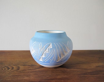 Navajo Art Pottery Vase Etched Planter Sky Blue and White Signed Coyote