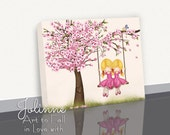Cherry Blossom Tree Wall Art Canvas Print, Baby Nursery Wall Art, Artwork for Kids Room, Sisters Room Decor, Twins Shared Room Picture