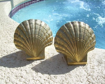 Solid Brass Sea Shell Book ends, great Vintage Find