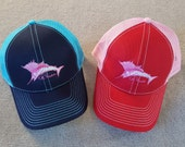Pink Sailfish Trucker cap for ladies mesh adjustable velcro Ladies fishing Blue Red