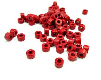 Red tube beads, red ceramic beads, 6mm mykonos beads, greek ceramic beads, rustic beads (50)