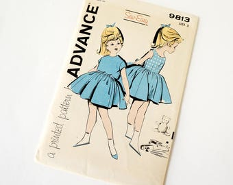 Vintage 1950s Girls Size 2 Full Skirt Dress and Scalloped Edge Cropped Jacket Advance Sewing Pattern 9813 Uncut Complete / b21 w20