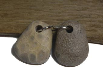 His and Hers, Drilled beach stone fossil beads, Lake Michigan stones, Charlevoix stones, up-north, top drilled natural and unpolished