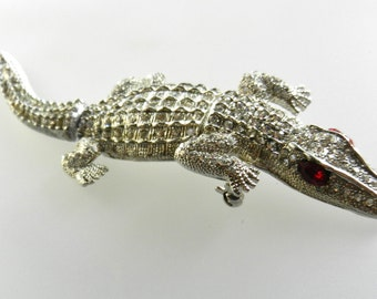 Articulated crocodile figural brooch - impressive covered by clear rhinestones & ruby red eyes-statement pin for alligator lovers-art.42/3