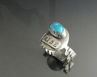 sterling silver turquoise wing ring - turquoise ring - eagle wings ring - rise