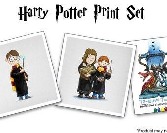 Harry Potter Print Set (Harry Potter, Ron & Hermione, Tri-Wizard Tournament Postcard)