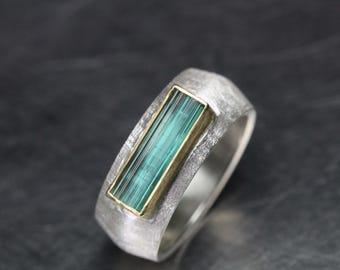 Wide Silver 22K Yellow Gold Ring Raw Blue-Green Tourmaline Textured Band Minimalistic Modern Zen Vivid Rough Gemstone Rod - Indicolite Queen