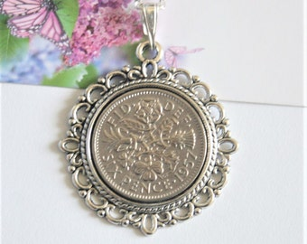 60th birthday gift for women. 1957 birthday. Coin necklace. Sixpence necklace, Coin necklace dated 1957. 1957 jewellery. 1957 birthday gift.