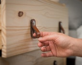 """Leather Drawer Pulls - The """"Hawthorne (Small)"""" - Leather Cabinet Door Handles and Drawer Knobs"""