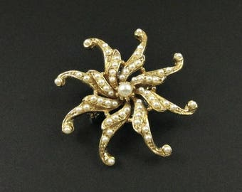 Pearl Star Brooch, Starfish Brooch, Spiral Brooch, Pinwheel Brooch, Faux Pearl Brooch, Starburst Brooch, Small Brooch