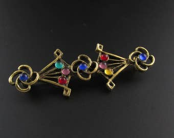 Colorful Bar Pin, Multi Color Pin, Colorful Brooch, Unusual Brooch, Bar Pin, Gold Brooch, Multi Color Brooch