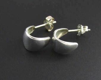 Sterling Silver Hoop Earrings, Sterling Silver Earrings, Silver Hoop Earrings, Small Hoop Earrings, Half Hoop Earrings