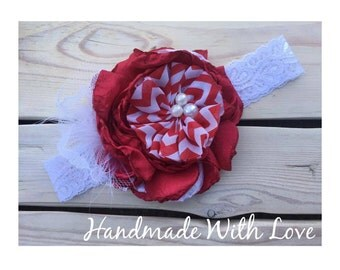 Be My VaLeNtiNE---Red and White Feathers and Lace Flower Band
