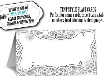 12 Tent Style Place Cards, Winter Snowflakes,Baby Shower, Bridal Shower, Wedding, Engagement Party, Birthday, Silver or Gold