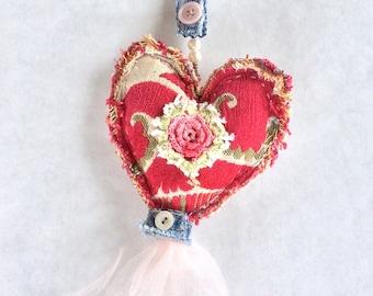 Heart Purse Charm, Key Chain, Heart Decor in Pink