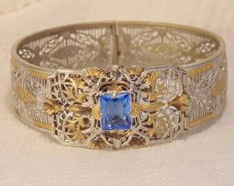 Art Deco Blue Stone Silver Gold Filgree Bracelet Silver Filigree Bracelet Gold Filigree Bracelet Art Deco Filigree Bracelet