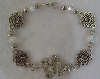 Silver Snake Link Bracelet Jewelry Handmade NEW Accessories Chain Fashion Beaded