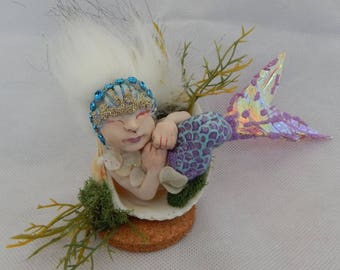 MiaShell Sleeping Mermaid In A Shell OOAK Fairy Art Doll Fairies New Sculpture Figurine Polymer Clay