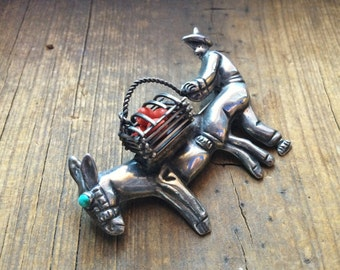 Signed Mexican turquoise sterling silver hombre with burro basket brooch coral beads, vintage Taxco style pendant, Mexican silver brooch