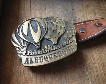 1976 Albuquerque Balloon Fiesta belt buckle solid brass, balloon pilot gift, Albuquerque lover gift, balloon collector, balloonist buckle