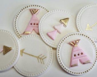 Boho Tribal Cupcake Toppers, Edible Cupcake Decoration, Fondant Cupcake Toppers, Baby Shower, Bridal Shower, Wedding Cupcakes