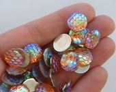 16 Mermaid scale pink AB cabochon seal resin